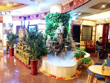 酒店茶吧+植物墙+山水,有木有很仙儿......